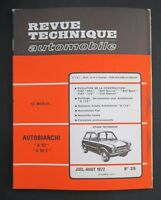 REVUE TECHNIQUE AUTOMOBILE RTA AUTOBIANCHI 112 FIAT 850 125 n°315