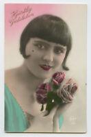 1920s French Deco PRETTY FLAPPER Helmet Haircut Kitsch glamour photo postcard