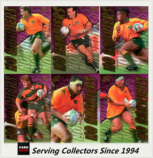 """1996 Futera Rugby Union Trading Cards Retail """"NO BARRIERS"""" full set (9 cards)"""