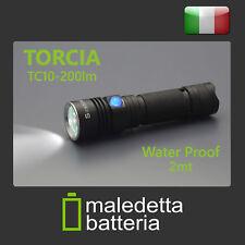 TORCIA LED TC10 200lm RICARICABILE 3 MODALITA' WATERPROOF 2MT BATTERIA INCLUSA