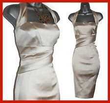 Karen Millen Beige Satin Halterneck Cocktail Party Prom Elegant Dress UK 14 EU42