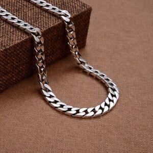 A25 Men Necklace Flachpanzerkette 8 MM Wide Sterling Silver 925