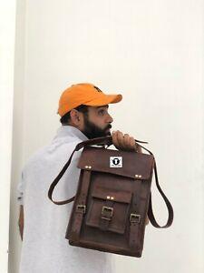 Bag Leather Vintage Men Messenger Shoulder Long Satchel School Briefcase Laptop