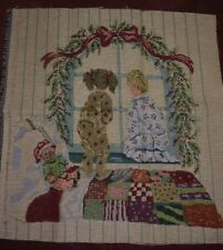 """Kids Waiting for Santa Tapestry Panel Fabric 18"""" L x 18"""" H"""