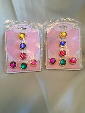 New Vintage Gold Tone Button Covers With Colored Stones