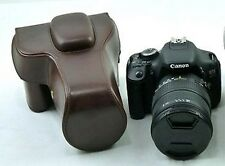 Leather Bag Case For Canon EOS 500D 550D 1100D 1000D 600D 18-135mm Dark Brown