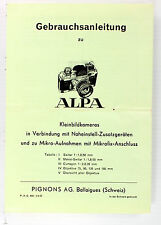 Orig. Alpa Manual for Close-up, Makro & Micro Photography - 12 pages, in German