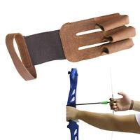 Handschuh 3 Finger Traditioneller Schießhandschuh Bogen Zubehör für das Braun