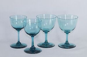 4x antique 18th C. Wine Glass, turquoise blue crystal glass, circa 1750 Holland