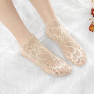 Women Transparent Thin Flower Lace Socks Nylon Elastic Short Ankle Socks HOT