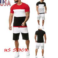 Men Color Patchwork Short Sleeve Sport Sweat Suit Athlete T-shirt+Shorts Set USA