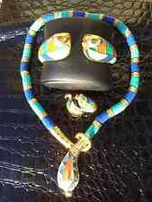 Luxe Egyptian Cleopatra cobra Parure necklace earrings cuff set Hattie Carnegie
