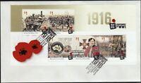 """2016 FDC. Australia. 1916 WWI Centenary. M.S. PictFDI """"MELBOURNE"""""""