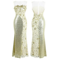 Angel-fashions Sheer Round Neck Illusion Sequin Splicing Maxi Evening Dress 454