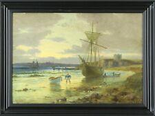 Alfred Long Meerküstenmotiv mit Schiff Antike Maritimer Kunst Ölgemälde um 1901