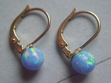 Ohrhänger kurz Gold 585 mit Opal blau Kugeln 6 mm,Ohrhänger mit Opal in Gold 585