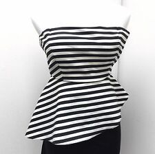 Women's Blouse Zara Top Pin Up Retro Fitted Striped Peplum Cute Size Small