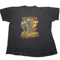 Vintage 90s Screen Stats Mens Size XL Isle Of Man Mad Sunday T Shirt Black