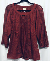 Anthropologie Fig and Flower Sz M 3/4 Sleeve Sheer Burgandy Lace Boho Top