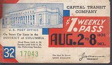 Trolly/Bus pass capital Transit Wash. DC--1936 U S post Office-----13