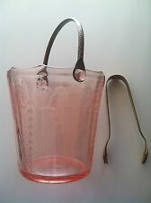 antique Cambridge Pink Depression Glass ice bucket with tongs