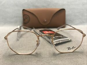 RAY BAN RB 6448 3094 Rose Gold Eyeglasses 48[]21 145 Frames AUTHENTIC NEW + CASE