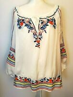John Mark White Polyester Embroidered Boho Floral Peasant Top Blouse Size XL