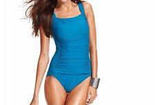 INC International Concepts Womens One Piece Sz 18W Peacock Blue Swimsuit 470604W