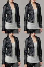 NWT Ladies 7 For All Mankind Washed Leather Blazer Jacket in Indigo M $545