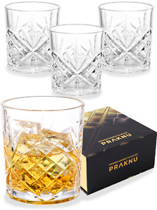 4 Whisky Gläser 300ml Set Kristall Whiskey Trink Rum Glas Schliff Tumbler Cross