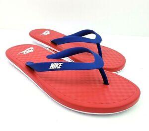 Nike Ondeck Mens Size 12 Wmn 13 University Red Blue Flip Flop Sandals CU3958-600