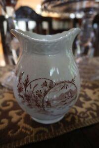 ANTIQUE Brown TRANSFERWARE Vase Castle Daisies England? Cottage Farmhouse