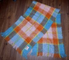 SCARF WOOL MOHAIR PLAID BLUE ORANGE MUFFLER SCOTLAND ARCHIE BROWN SONS WIDE