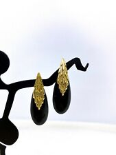 Vintage 14k Yellow Gold Black Onyx Earrings