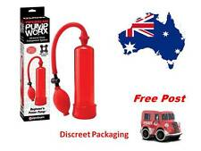 Power  Pump Penis Erection Aid with Ring plus Mr.Thick & Lube Samplers (Red)