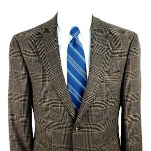 Jos A Bank 40S 2 Button Brown Glen Check Houndstooth Wool Sport Coat