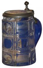 Circa 1860 Spa Views Bohemian Wheel Cut Blown Glass Stein