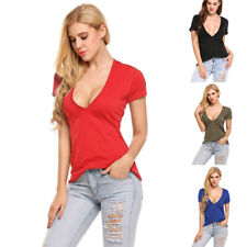 Women Summer V-Neck Low-Cut Short Sleeve Solid Slim T-Shirt Casual Loose Tops