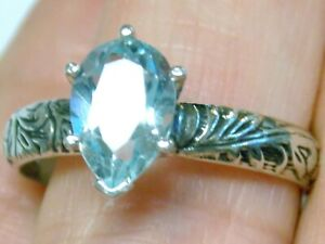 Natural Blue Topaz Ring Size 9.5  925 Sterling Silver 2.50ct Pear Deco USA Made