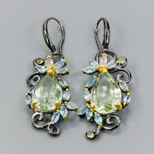 Vintage21ct+ Natural Green Amethyst 925 Sterling Silver Earrings /E36040