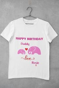 PERSONALISED KIDS TEE SHIRT HAPPY BIRTHDAY DADDY ANY NAME BIRTHDAY GIFT GIRLS