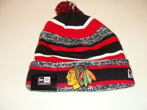 Chicago Blackhawks Cap Hat NHL Hockey New Era Beanie Toque OSFM NE 14 Sport Pom