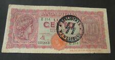 BANKNOTE. ITALY. BILL. 100 LIRE. LIRA. SS WAFFEN STAMPS WW2 91