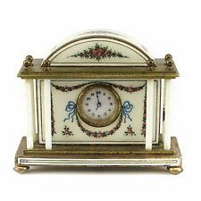 Austrian Enamel Bronze Desk Clock; c.1900. Beautiful Rose Floral Pattern