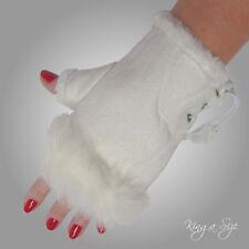 Fingerlose Handschuhe *** Stulpen / Armstulpen Pulswärmer Wildlederlook - weiß