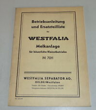Mode D 'em Ploi + Catalogue des Pièces Westfalia Melkanlage M 7011