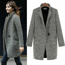 Gray Womens Lapel Collar Wool Long Winter Parka Coat Trench Outwear Jacket Tops