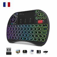 Original Rii X8 AZERTY, Mini clavier Rétroéclairé sans fil avec Touchpad, LED