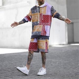 Mens Tracksuit 2 Piece Casual Shorts Hoodie Sweatsuit Sweatshirt Sports Set
