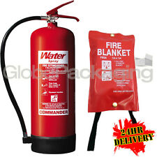 BRAND NEW 9 LITRE WATER INDUSTRIAL FIRE EXTINGUISHER 9L + FIRE BLANKET 1M X 1M